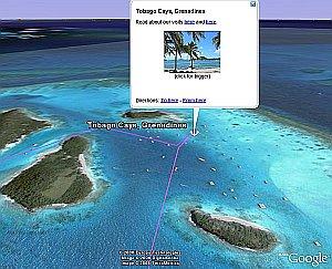 Tobago Cays in Google Earth