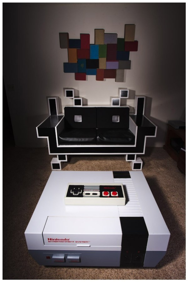 NES Coffee Table and Space Invader Couch 2