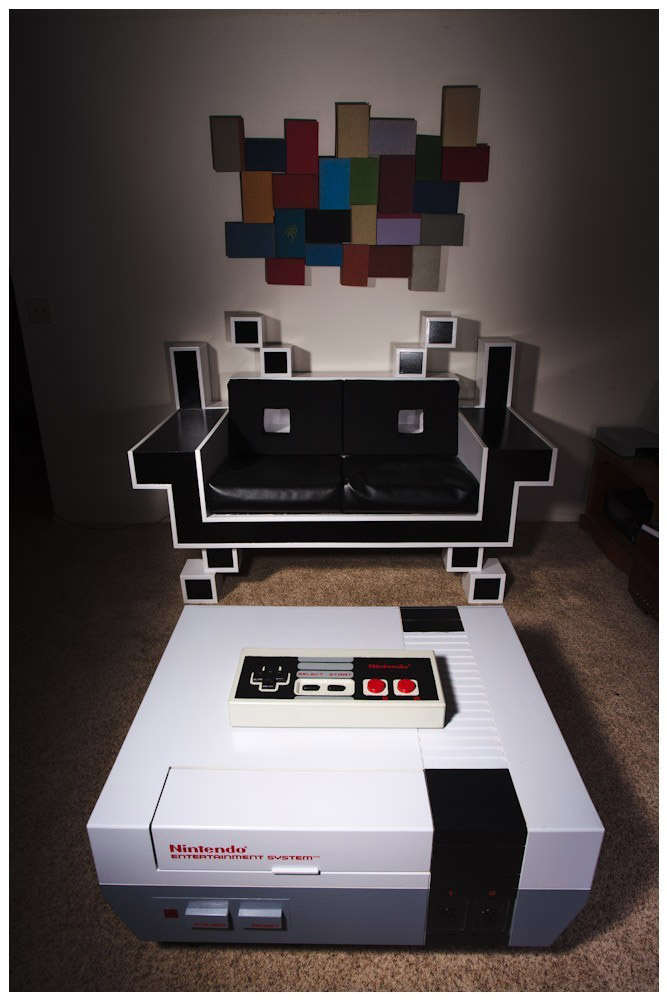 NES Coffee Table and Space Invader Couch