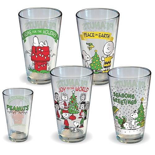 Christmas Pint Glasses Peanuts 4 Pack - Geek Decor