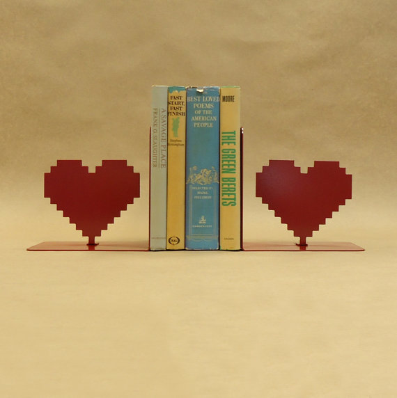8-bit Hear Bookends - Geek Decor