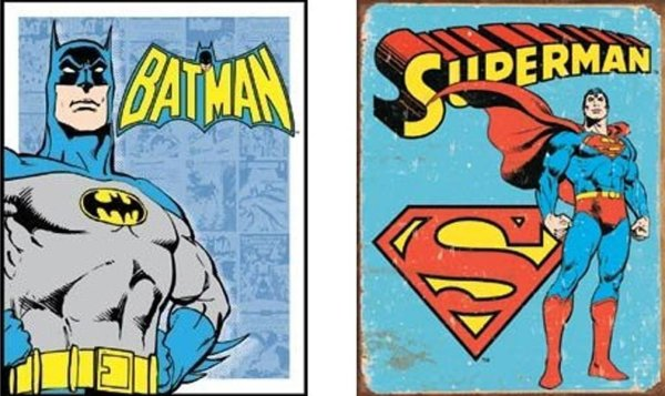 Batman and Superman Vintage Tin Signs - Geek Decor