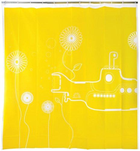 Yellow Sub shower curtain