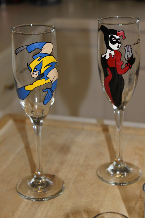 Comic Toasting Glasses - Geek Decor