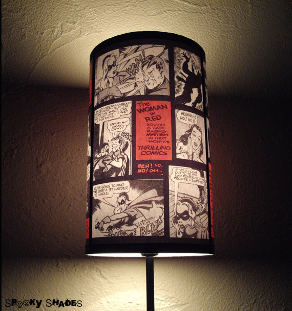 Thank etsy for this comic strip lamp shade geek decor aloadofball Images