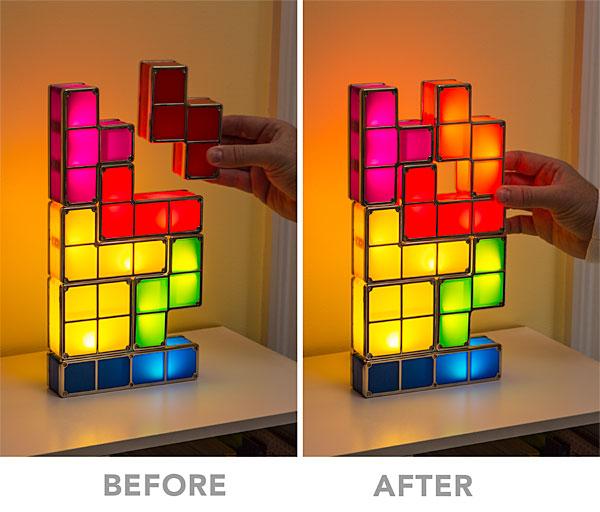 Tetris Stackable LED Desk Lamp Lighting Up - Geek Decor