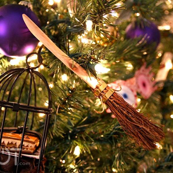 harry potter broom christmas ornaments hanging in tree geek decor - Christmas Broom Decoration