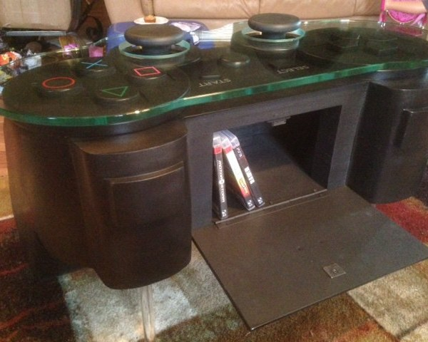 Playstation Controller Coffee Table Compartment - Geek Decor