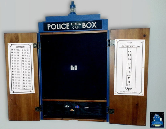Doctor Who Dartboard Cabinet Open - Geek Decor