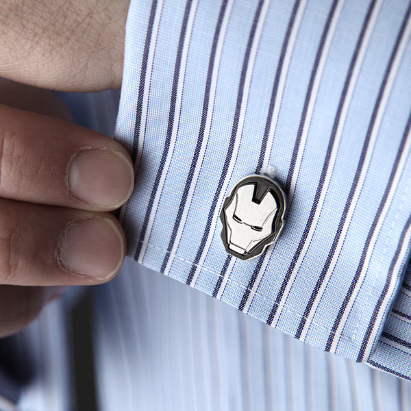 Iron Man Helmet Cufflinks On A Shirt - Geek Decor