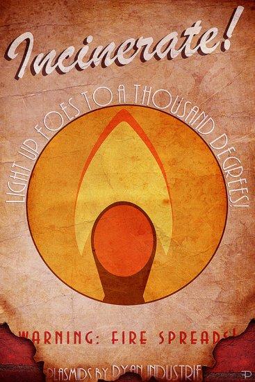 Bioshock Fire Plasmid Poster -- Geek Decor