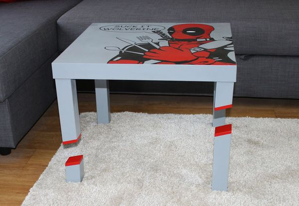 DIY Deadpool Table, slashed legs -- Geek Decor