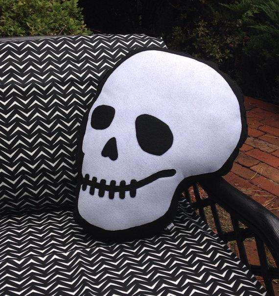 Skull Pillow Front - Geek Decor