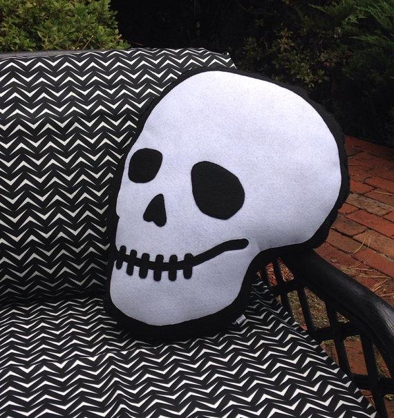 Skull Pillow Front - Geek Decor