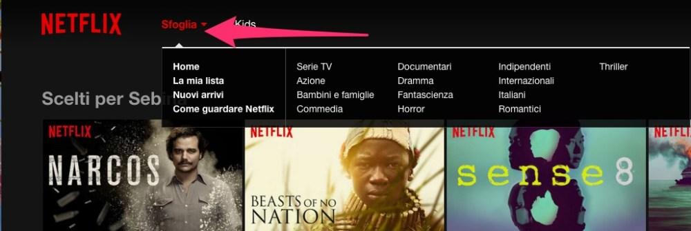 Netflix: navigare sfogliando le macro-categorie