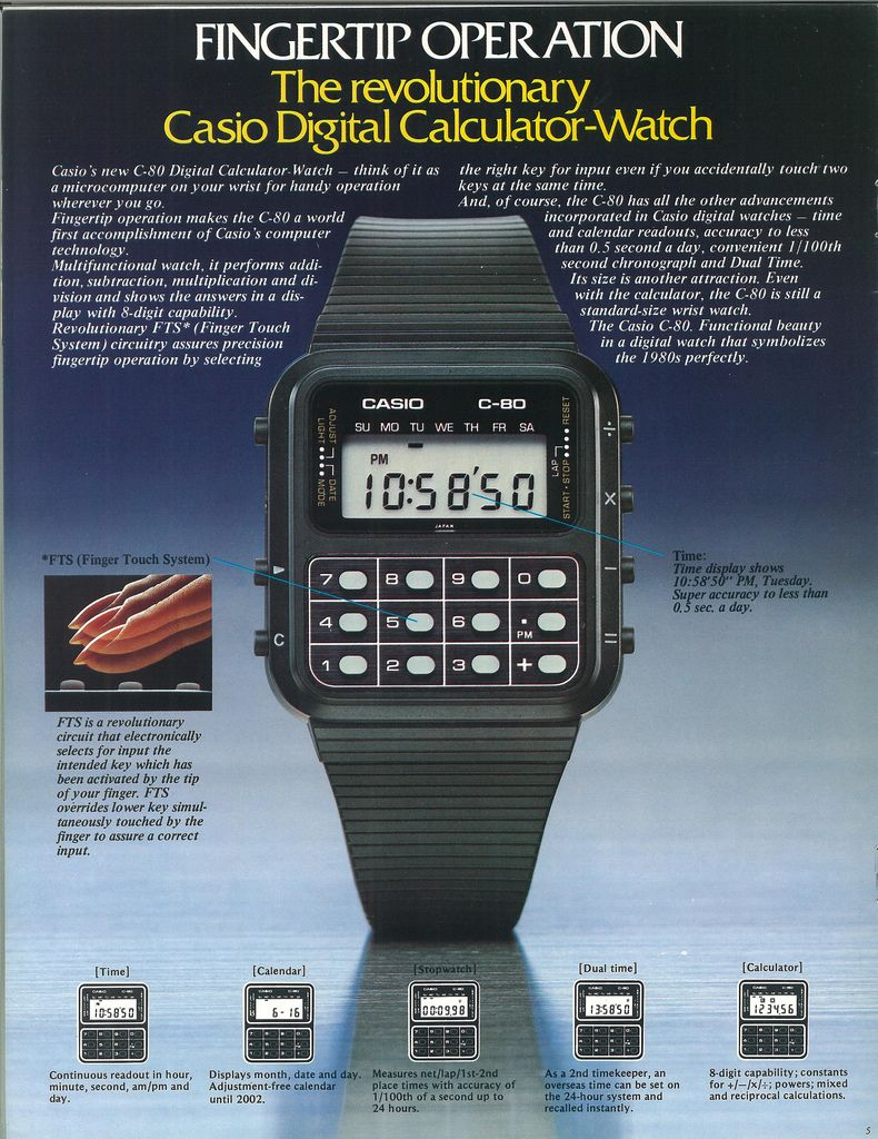 Casio made the Calculator Watch a household word with the C-80.