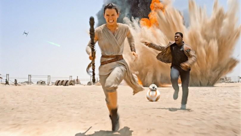 Rey and Finn escape in the Millennium Falcon