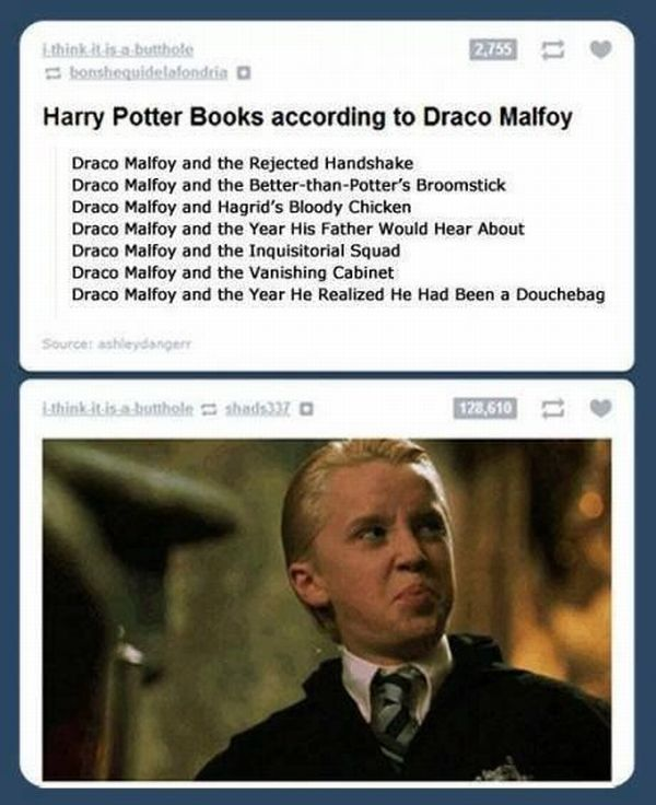 Harry Potter Books as Draco Malfoy