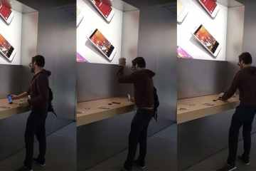 VIDEO: This Angry Man Walked into an Apple Store and Destroyed iPhones & MacBooks with a Steel Ball