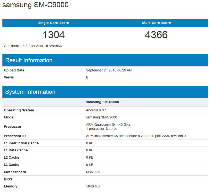 Samsung Galaxy C9 Geekbench