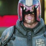 Dredd's helmet stays on