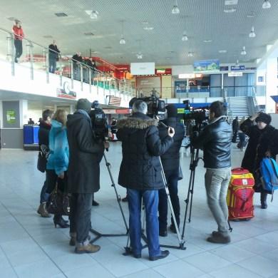 Pressetermin am Flughafen in Chisinau