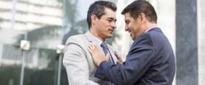 Gay couple flirting