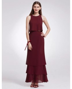 Lovable Two Piece Sleeveless Layered Long Cheap Bridesmaid Dress Burgundy Two Piece Sleeveless Layered Long Cheap Bridesmaid Dress Bridesmaid Dresses Nyc Bridesmaid Dresses Philippines