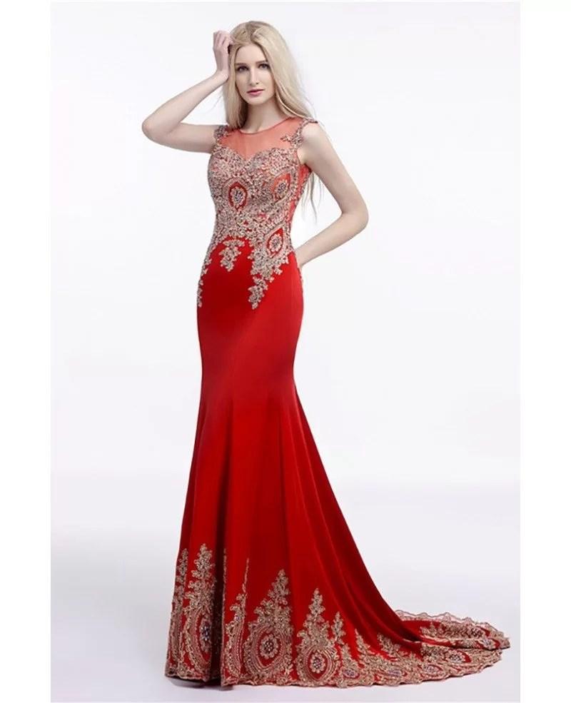 Fantastic 2018 Fit Flare Red Prom Dress Long Leg Split Applique Lace 2018 Fit Flare Red Prom Dress Long Applique Lace Red Prom Dress Macys Red Prom Dress wedding dress Red Prom Dress