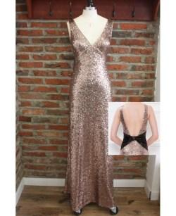 Brilliant Rose G Long Metallic Sequin Bridesmaid Dresses Backless Openback Formal Rose G Long Metallic Sequin Bridesmaid Dresses Backless