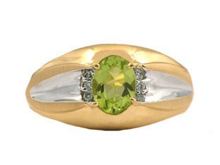 Yellow Gold Men's Diamond and Oval Peridot Ring