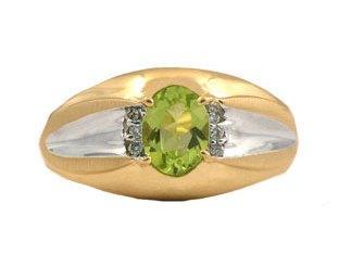 Yellow Gold Men's Diamond and Oval Peridot Ring