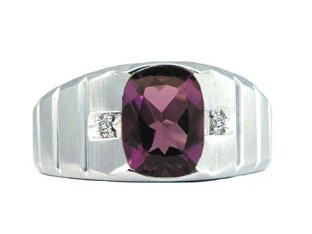 Men's White Gold Diamond Antique Cushion Cut Amethyst Ring
