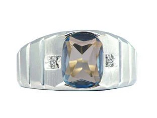 Men's White Gold Diamond Antique Cushion Cut Blue Topaz Ring