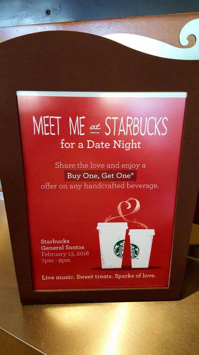 "Share the love with Starbucks Gensan's ""Buy 1, Get 1"" Valentine Promo"