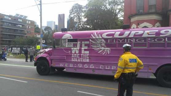 Wherever there are violent anarchists you'll probably see the CUPE bus!