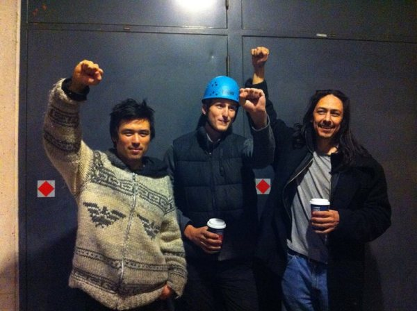 Tamp Campos, Jakub Markiewicz & Dan Wallace after their Burnaby Mountain arrests