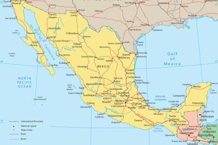 mexico political map baja california, cancun, cabo san lucas
