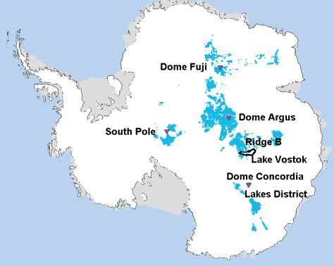 This shows Antarctic locations (in bright blue) where 1.5 million years old ice could exist. The figure is modified from Van Liefferinge and Pattyn (Climate of the Past, 2013). Credit: Van Liefferinge and Pattyn