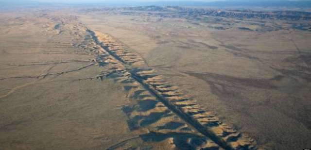 Aerial photo of the San Andreas Fault in the Carrizo Plain, northwest of Los Angeles. Credit: Wikipedia.