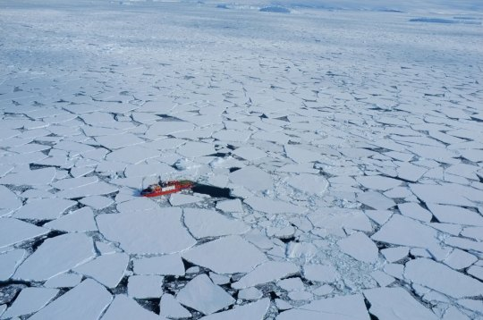 """Arctic sea ice is changing, with less of the """"old and thick"""" sea ice, which survives through the summer, to """"new and thin"""" sea ice which melts in the spring and summer. Credit Andrea Spolaor, Ca' Foscari university of Venice"""