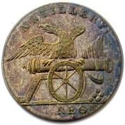 1808-11 Artillery Regiment 23mm. Gilded Brass rj Silverstein's georgewashingtoninauguralbuttons.com O