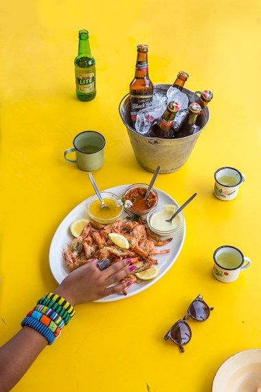 prawn shak, durban, beer