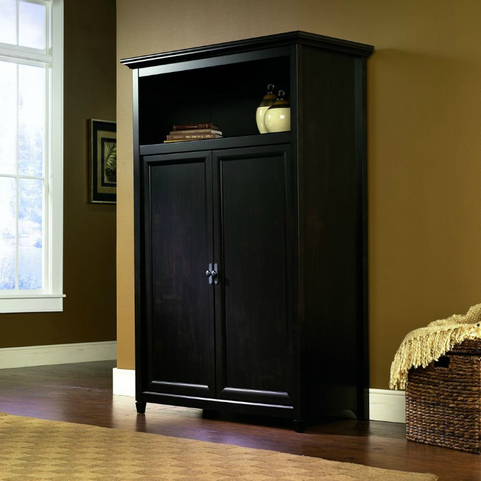 Space Saving Computer Armoire With Concealed Work Desk