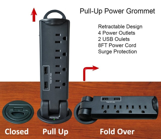 Retractable Pull-Up Power Tap Grommet