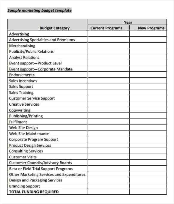10 marketing plan budget templates excel templates
