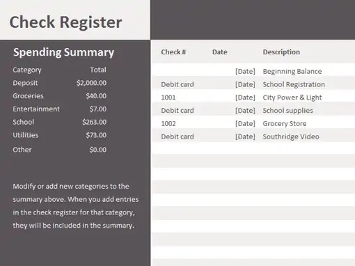 ms excel check register template