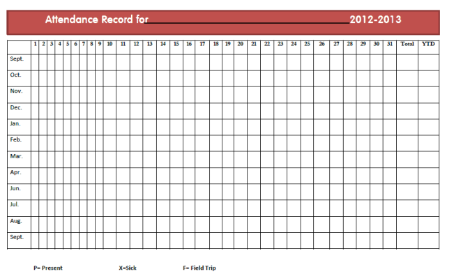 Monthly Attendance Sheet Templates - Excel Templates