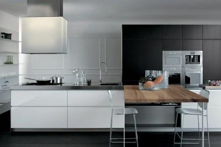 grey ans white with a wooden element modern kitchens from elmar cucine photo 9