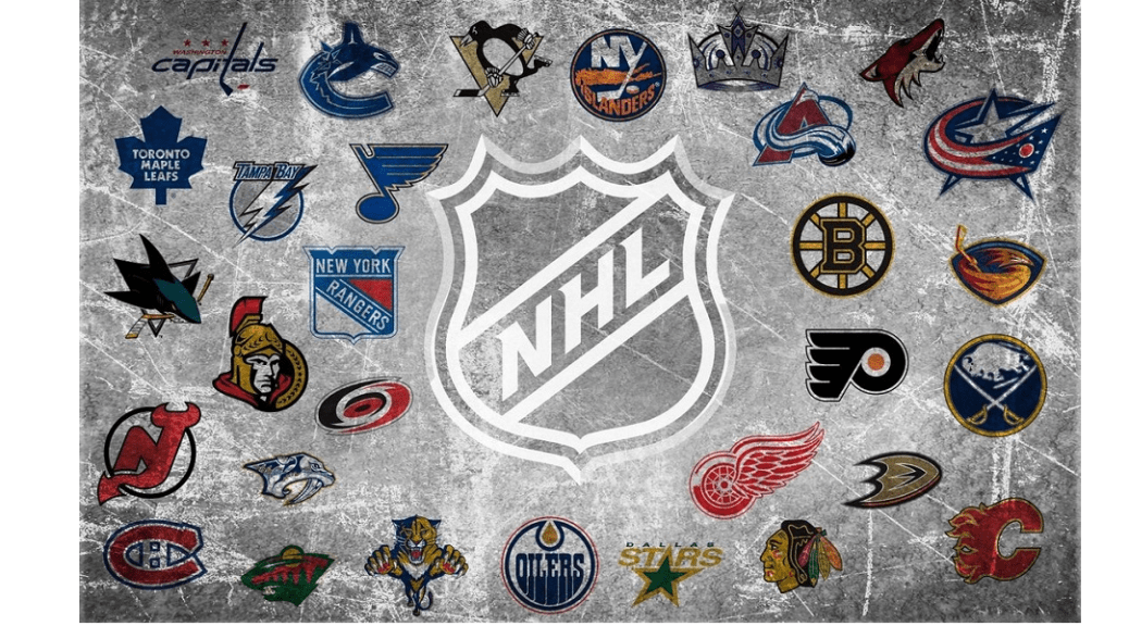 NHL logos on ice